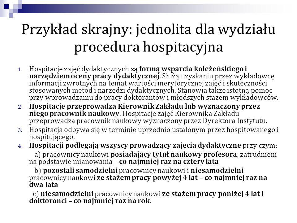 Przykład skrajny: jednolita dla wydziału procedura hospitacyjna 1. Hospitacje zajęć dydaktycznych są formą wsparcia koleżeńskiego i narzędziem oceny p