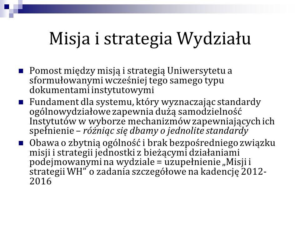 Misja i strategia Wydziału Pomost między misją i strategią Uniwersytetu a sformułowanymi wcześniej tego samego typu dokumentami instytutowymi Fundamen