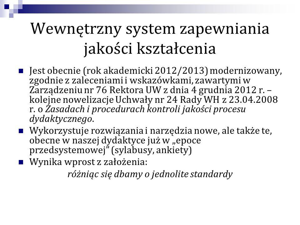 Wewnętrzny system zapewniania jakości kształcenia Jest obecnie (rok akademicki 2012/2013) modernizowany, zgodnie z zaleceniami i wskazówkami, zawartymi w Zarządzeniu nr 76 Rektora UW z dnia 4 grudnia 2012 r.