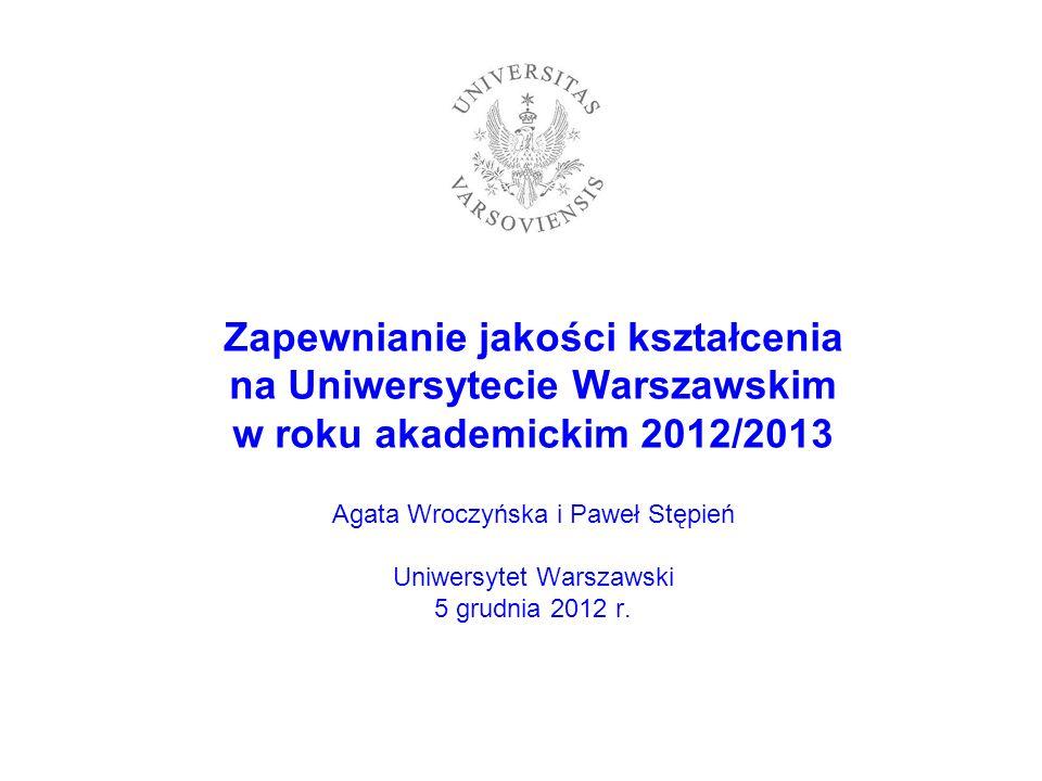 Zapewnianie jakości kształcenia na Uniwersytecie Warszawskim w roku akademickim 2012/2013 Agata Wroczyńska i Paweł Stępień Uniwersytet Warszawski 5 gr