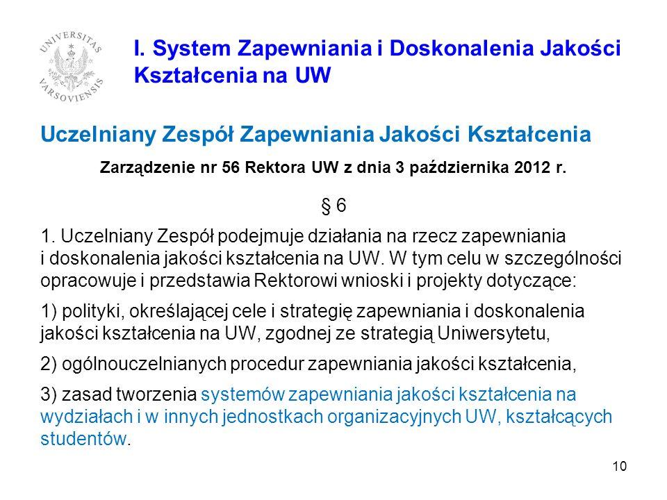 Uczelniany Zespół Zapewniania Jakości Kształcenia Zarządzenie nr 56 Rektora UW z dnia 3 października 2012 r. § 6 1. Uczelniany Zespół podejmuje działa