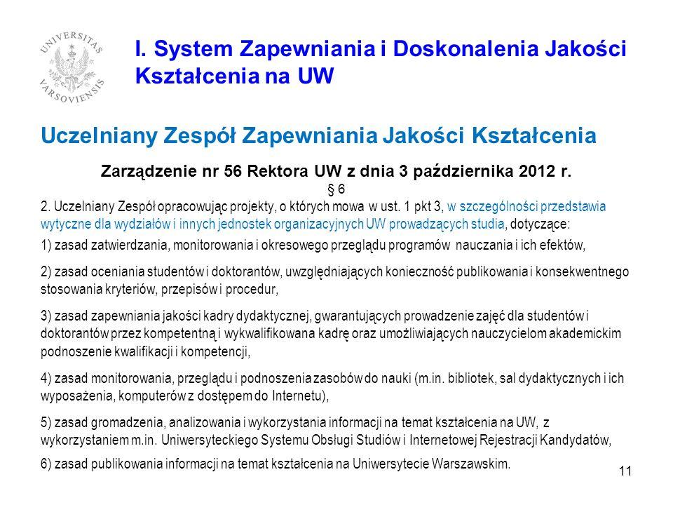 Uczelniany Zespół Zapewniania Jakości Kształcenia Zarządzenie nr 56 Rektora UW z dnia 3 października 2012 r. § 6 2. Uczelniany Zespół opracowując proj