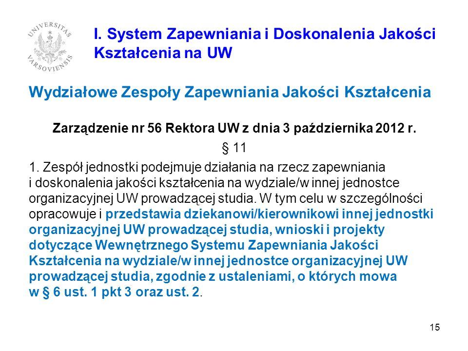 Wydziałowe Zespoły Zapewniania Jakości Kształcenia Zarządzenie nr 56 Rektora UW z dnia 3 października 2012 r. § 11 1. Zespół jednostki podejmuje dział