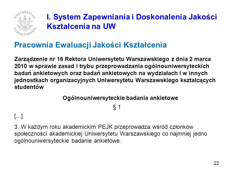 Pracownia Ewaluacji Jakości Kształcenia Zarządzenie nr 16 Rektora Uniwersytetu Warszawskiego z dnia 2 marca 2010 w sprawie zasad i trybu przeprowadzan