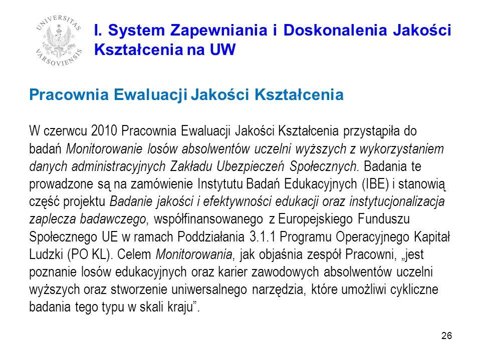 26 Pracownia Ewaluacji Jakości Kształcenia W czerwcu 2010 Pracownia Ewaluacji Jakości Kształcenia przystąpiła do badań Monitorowanie losów absolwentów