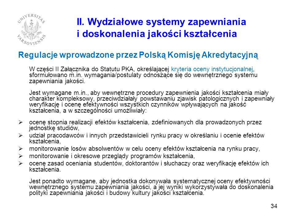 II. Wydziałowe systemy zapewniania i doskonalenia jakości kształcenia Regulacje wprowadzone przez Polską Komisję Akredytacyjną W części II Załącznika