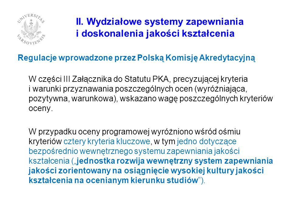 II. Wydziałowe systemy zapewniania i doskonalenia jakości kształcenia Regulacje wprowadzone przez Polską Komisję Akredytacyjną W części III Załącznika