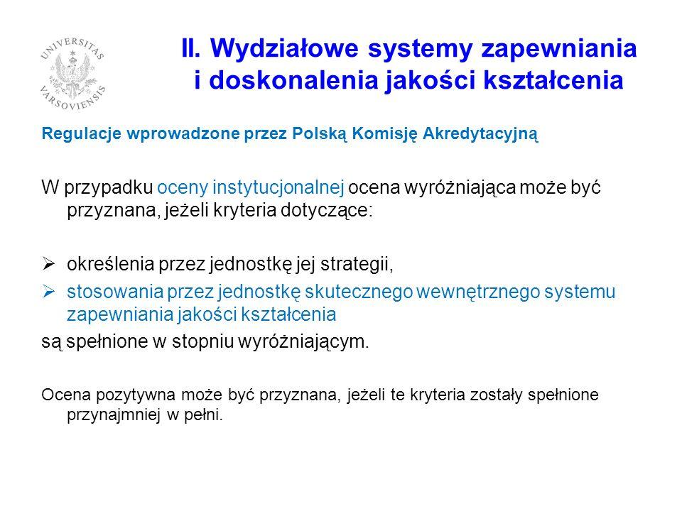 II. Wydziałowe systemy zapewniania i doskonalenia jakości kształcenia Regulacje wprowadzone przez Polską Komisję Akredytacyjną W przypadku oceny insty