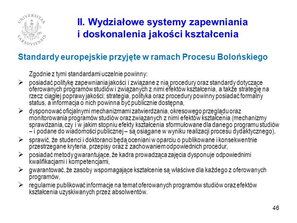 46 II. Wydziałowe systemy zapewniania i doskonalenia jakości kształcenia Standardy europejskie przyjęte w ramach Procesu Bolońskiego Zgodnie z tymi st
