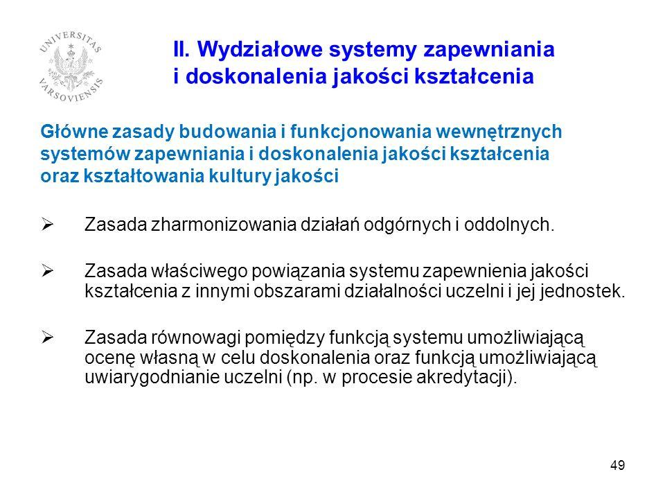 49 II. Wydziałowe systemy zapewniania i doskonalenia jakości kształcenia Główne zasady budowania i funkcjonowania wewnętrznych systemów zapewniania i