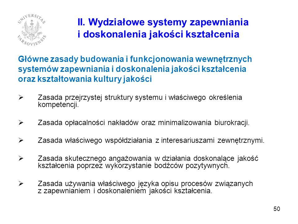50 II. Wydziałowe systemy zapewniania i doskonalenia jakości kształcenia Główne zasady budowania i funkcjonowania wewnętrznych systemów zapewniania i