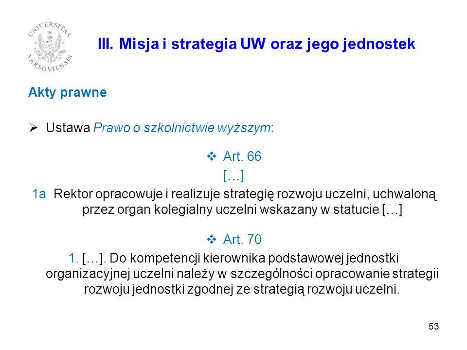 53 III. Misja i strategia UW oraz jego jednostek Akty prawne Ustawa Prawo o szkolnictwie wyższym: Art. 66 […] 1a Rektor opracowuje i realizuje strateg