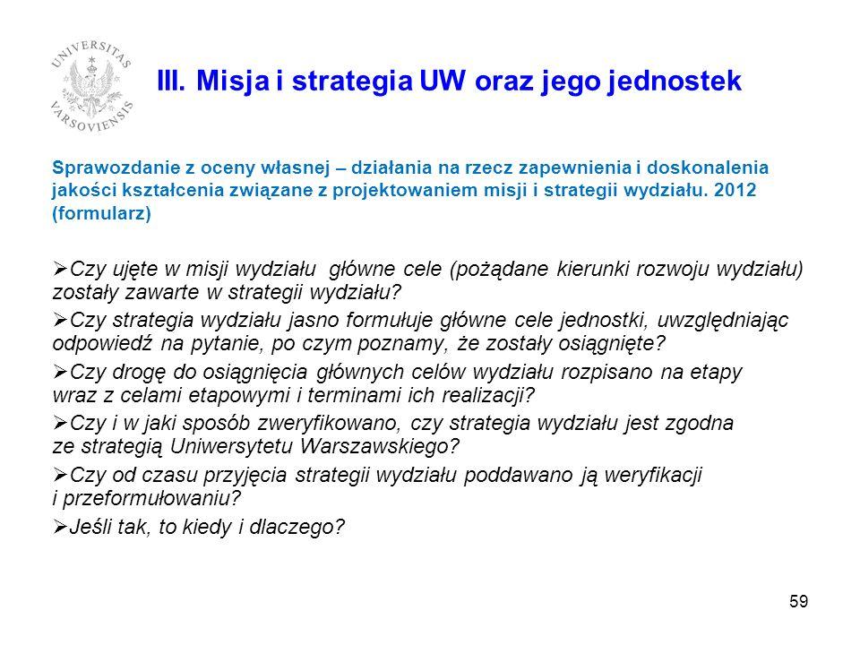 59 III. Misja i strategia UW oraz jego jednostek Sprawozdanie z oceny własnej – działania na rzecz zapewnienia i doskonalenia jakości kształcenia zwią