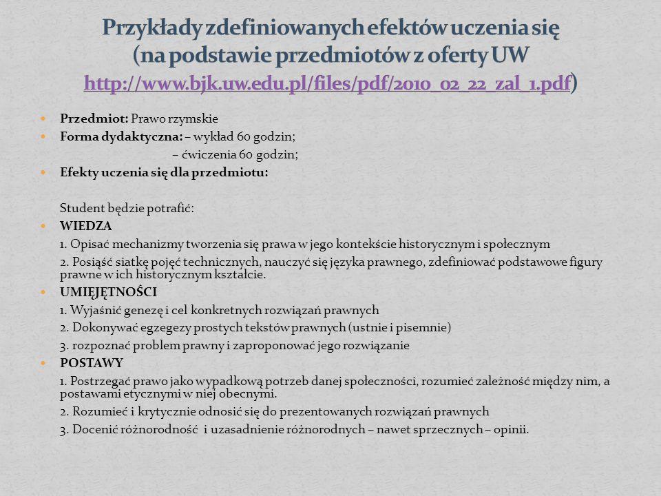 Przedmiot: Prawo rzymskie Forma dydaktyczna: – wykład 60 godzin; – ćwiczenia 60 godzin; Efekty uczenia się dla przedmiotu: Student będzie potrafić: WIEDZA 1.