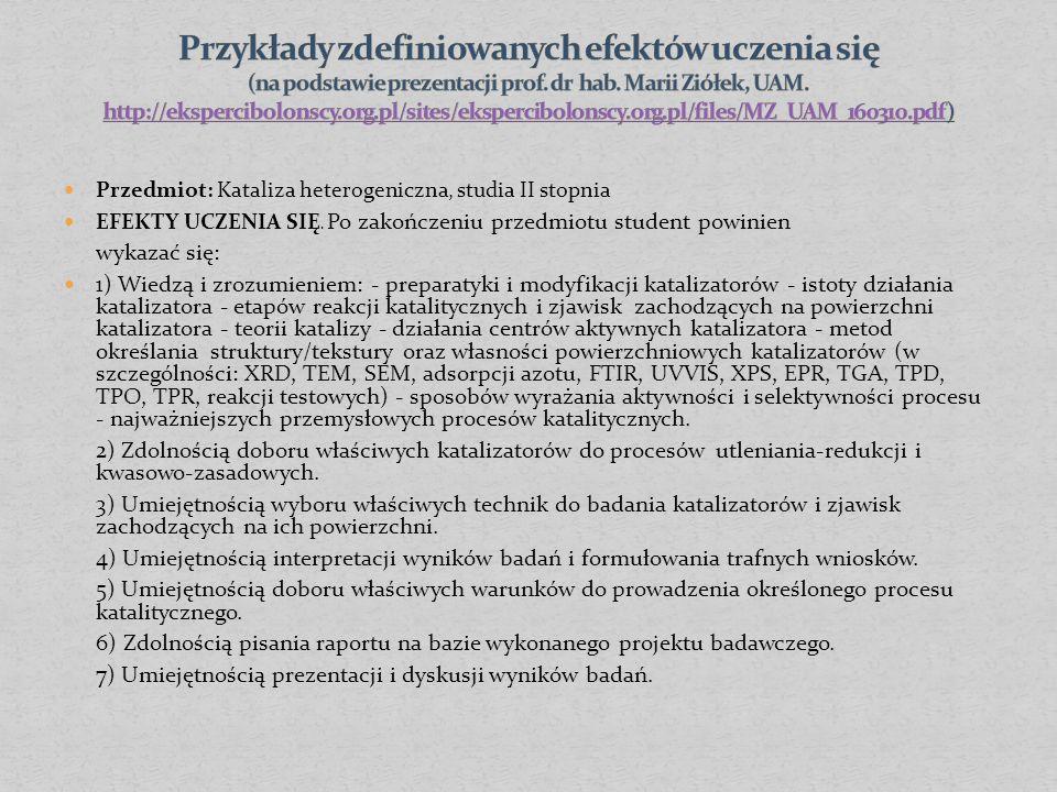 Przedmiot: Kataliza heterogeniczna, studia II stopnia EFEKTY UCZENIA SIĘ.