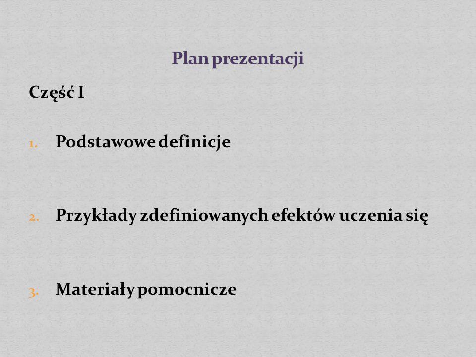 Część I 1. Podstawowe definicje 2. Przykłady zdefiniowanych efektów uczenia się 3.