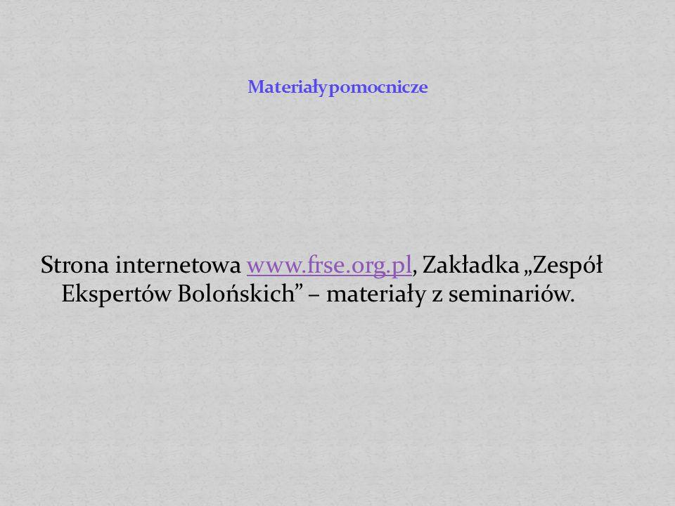 Strona internetowa www.frse.org.pl, Zakładka Zespół Ekspertów Bolońskich – materiały z seminariów.www.frse.org.pl