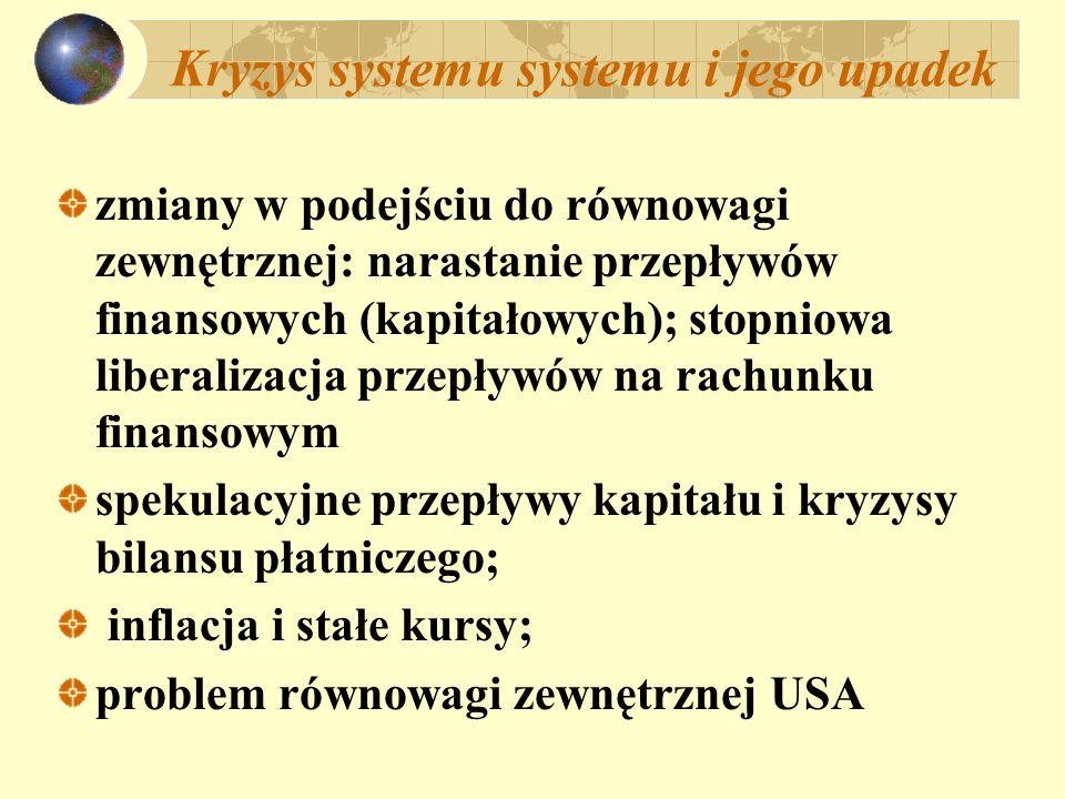 Kryzys systemu systemu i jego upadek zmiany w podejściu do równowagi zewnętrznej: narastanie przepływów finansowych (kapitałowych); stopniowa liberali