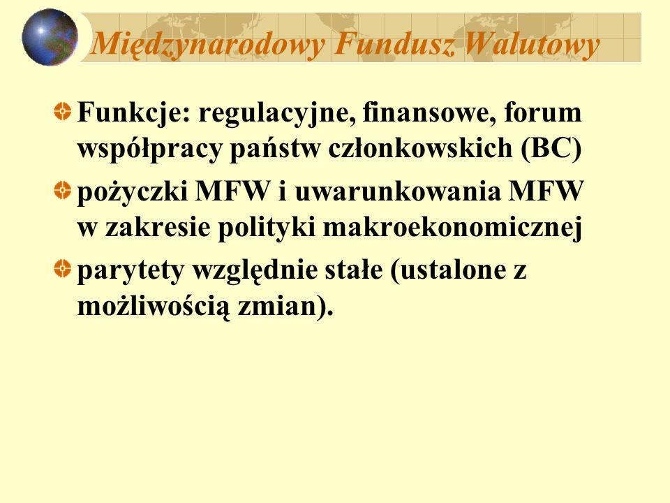 Międzynarodowy Fundusz Walutowy Funkcje: regulacyjne, finansowe, forum współpracy państw członkowskich (BC) pożyczki MFW i uwarunkowania MFW w zakresi