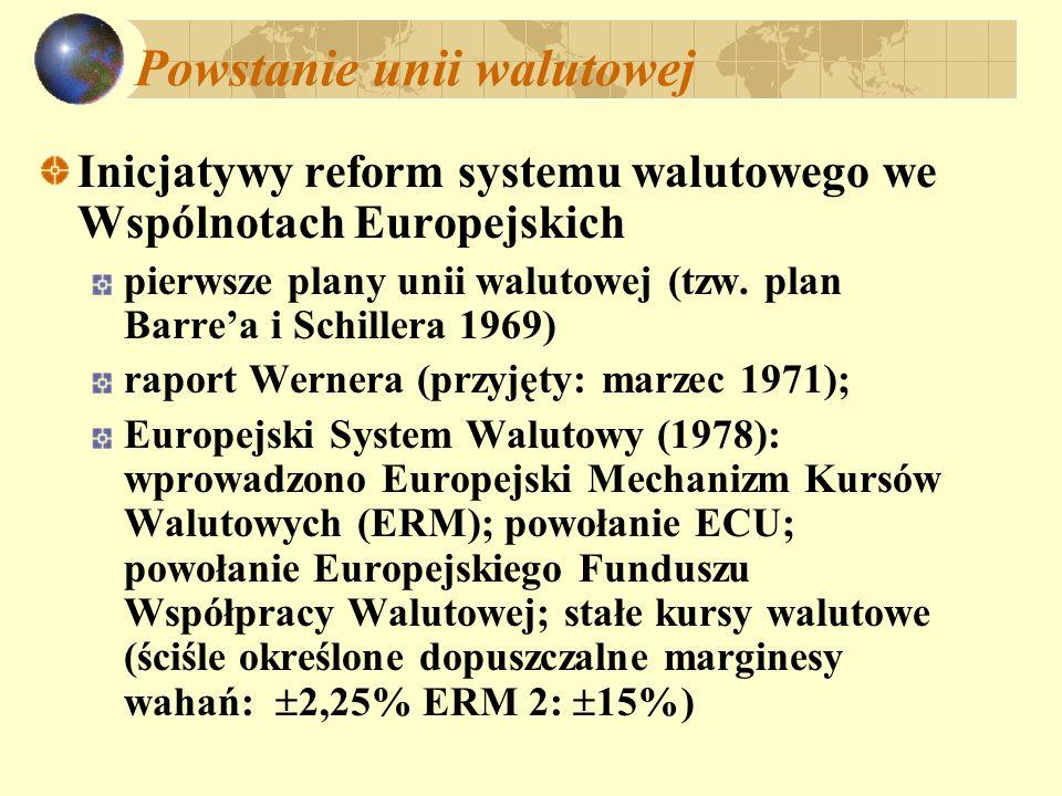 Powstanie unii walutowej Inicjatywy reform systemu walutowego we Wspólnotach Europejskich pierwsze plany unii walutowej (tzw. plan Barrea i Schillera