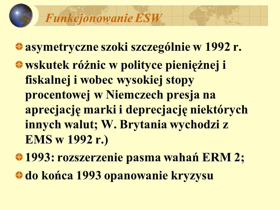 Funkcjonowanie ESW asymetryczne szoki szczególnie w 1992 r. wskutek różnic w polityce pieniężnej i fiskalnej i wobec wysokiej stopy procentowej w Niem
