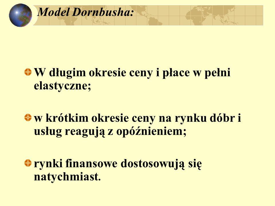 Model Dornbusha: W długim okresie ceny i płace w pełni elastyczne; w krótkim okresie ceny na rynku dóbr i usług reagują z opóźnieniem; rynki finansowe