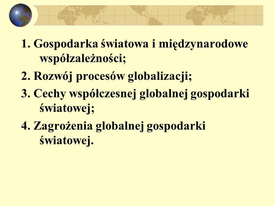 1. Gospodarka światowa i międzynarodowe współzależności; 2. Rozwój procesów globalizacji; 3. Cechy współczesnej globalnej gospodarki światowej; 4. Zag