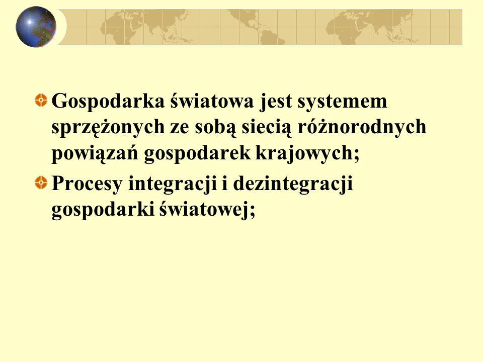 Gospodarka światowa jest systemem sprzężonych ze sobą siecią różnorodnych powiązań gospodarek krajowych; Procesy integracji i dezintegracji gospodarki