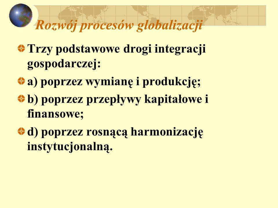 Rozwój procesów globalizacji Trzy podstawowe drogi integracji gospodarczej: a) poprzez wymianę i produkcję; b) poprzez przepływy kapitałowe i finansow
