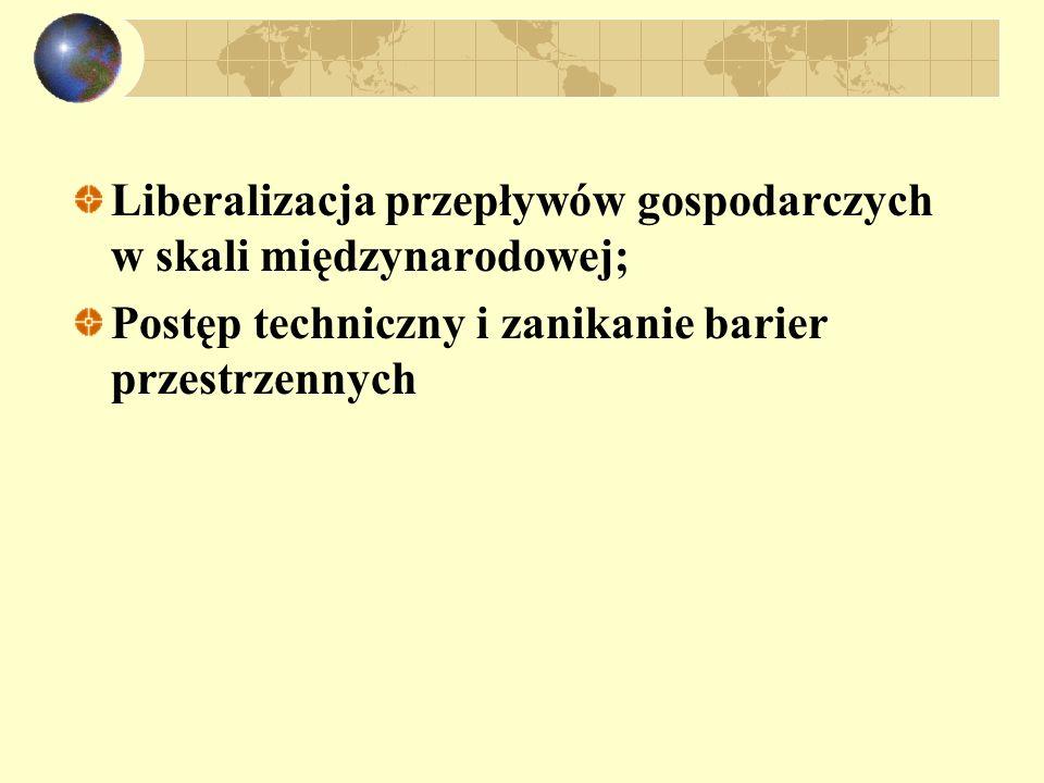 Liberalizacja przepływów gospodarczych w skali międzynarodowej; Postęp techniczny i zanikanie barier przestrzennych