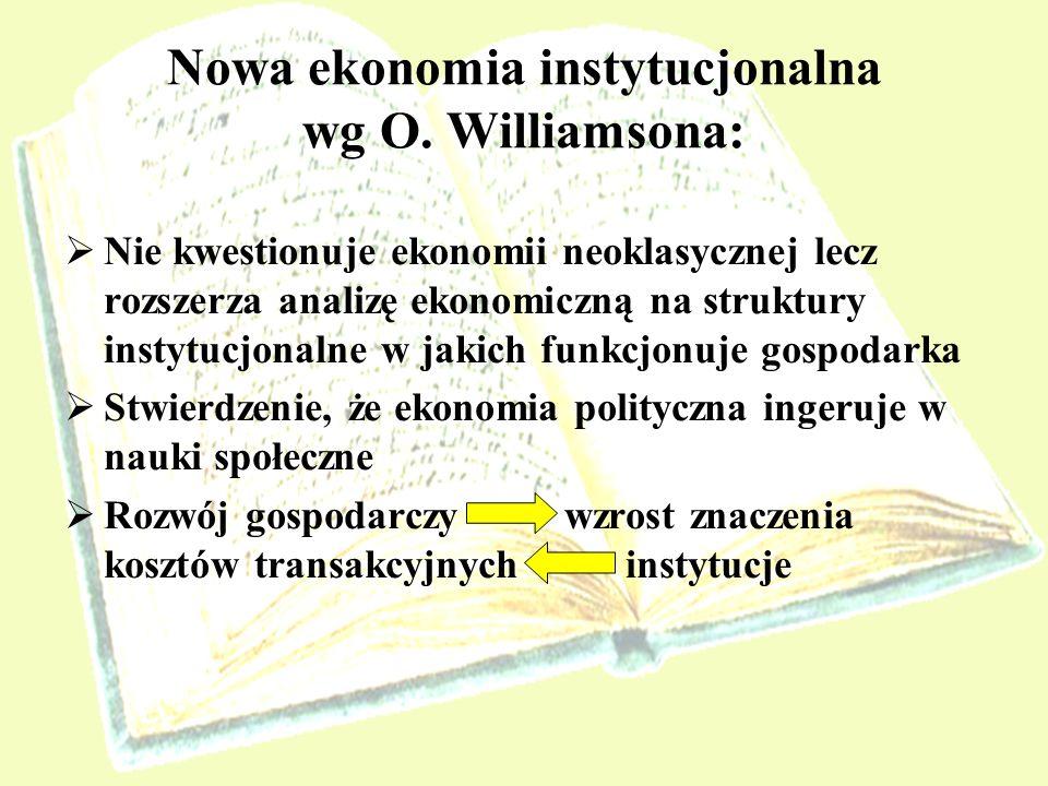 Nowa ekonomia instytucjonalna wg O. Williamsona: Nie kwestionuje ekonomii neoklasycznej lecz rozszerza analizę ekonomiczną na struktury instytucjonaln