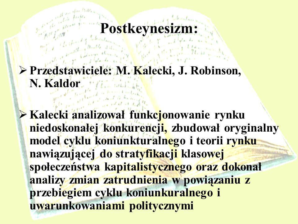 Postkeynesizm: Przedstawiciele: M. Kalecki, J. Robinson, N. Kaldor Kalecki analizował funkcjonowanie rynku niedoskonałej konkurencji, zbudował orygina