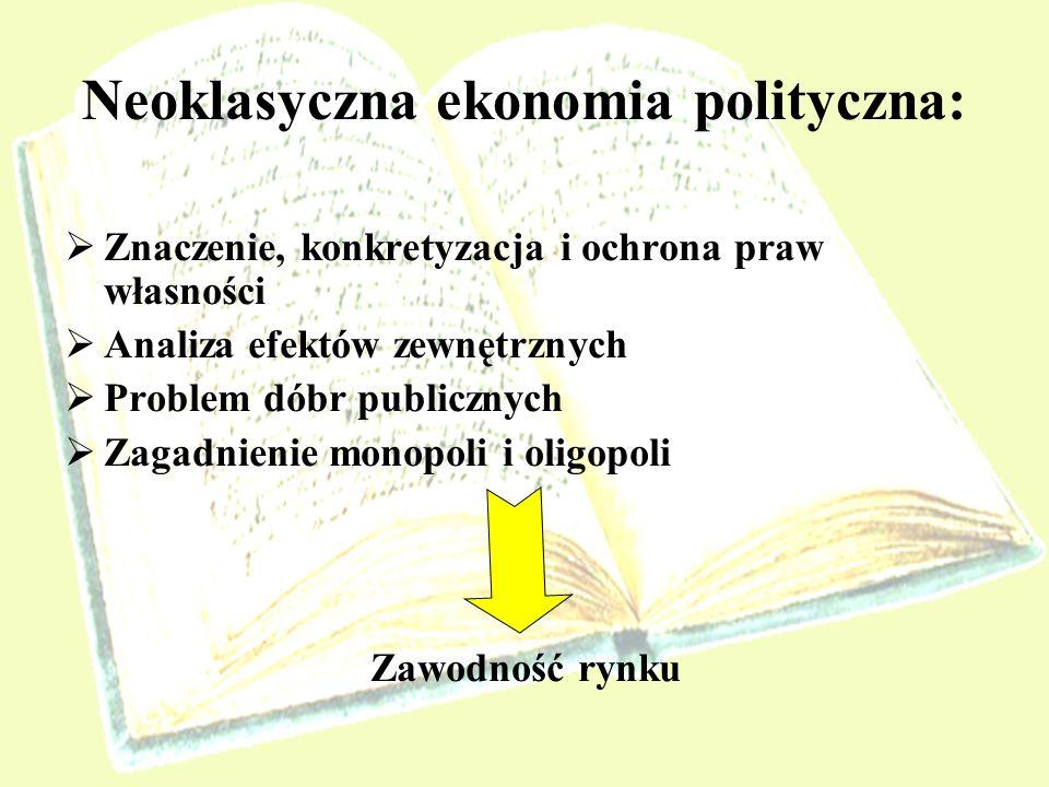 Neoklasyczna ekonomia polityczna: Znaczenie, konkretyzacja i ochrona praw własności Analiza efektów zewnętrznych Problem dóbr publicznych Zagadnienie