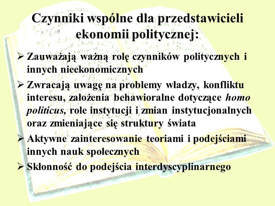 Czynniki wspólne dla przedstawicieli ekonomii politycznej: Zauważają ważną rolę czynników politycznych i innych nieekonomicznych Zwracają uwagę na pro