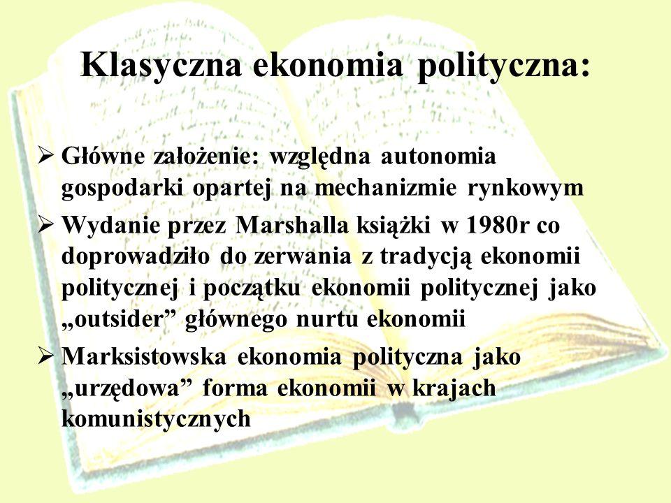Neoklasyczna ekonomia polityczna: Znaczenie, konkretyzacja i ochrona praw własności Analiza efektów zewnętrznych Problem dóbr publicznych Zagadnienie monopoli i oligopoli Zawodność rynku
