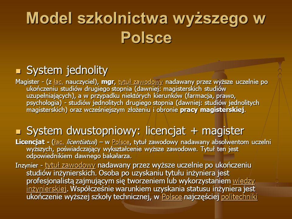 Model szkolnictwa wyższego w Polsce System jednolity System jednolity Magister - (z łac. nauczyciel), mgr, tytuł zawodowy nadawany przez wyższe uczeln