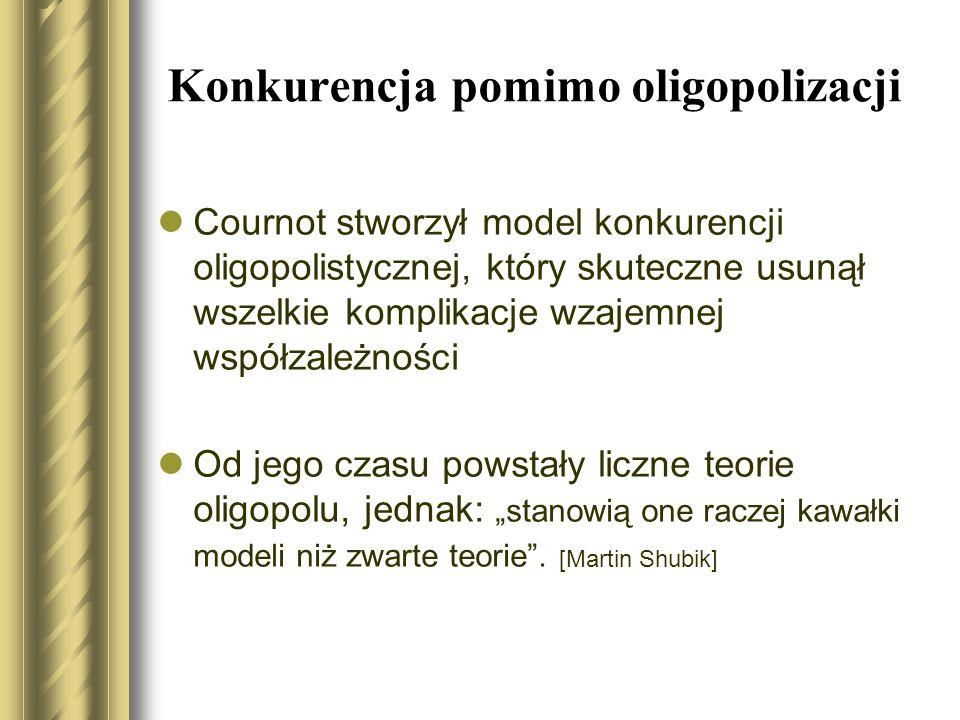 Konkurencja pomimo oligopolizacji Cournot stworzył model konkurencji oligopolistycznej, który skuteczne usunął wszelkie komplikacje wzajemnej współzal
