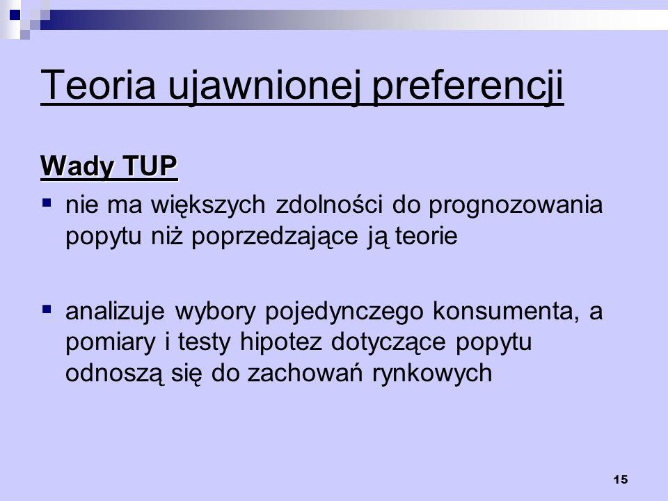 15 Teoria ujawnionej preferencji Wady TUP nie ma większych zdolności do prognozowania popytu niż poprzedzające ją teorie analizuje wybory pojedynczego