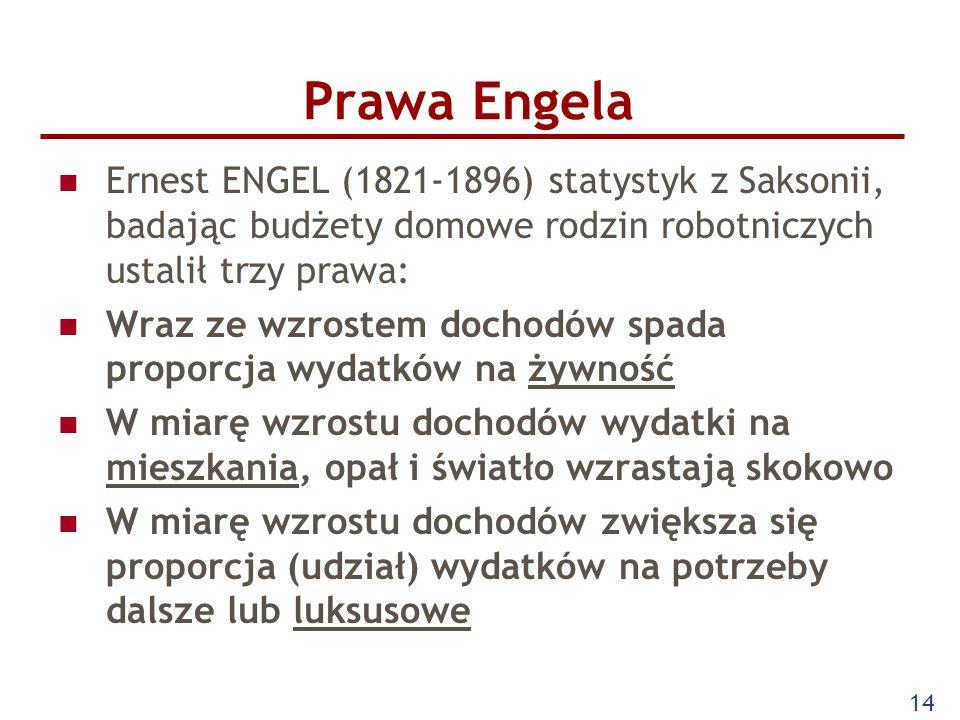 14 Prawa Engela Ernest ENGEL (1821-1896) statystyk z Saksonii, badając budżety domowe rodzin robotniczych ustalił trzy prawa: Wraz ze wzrostem dochodó