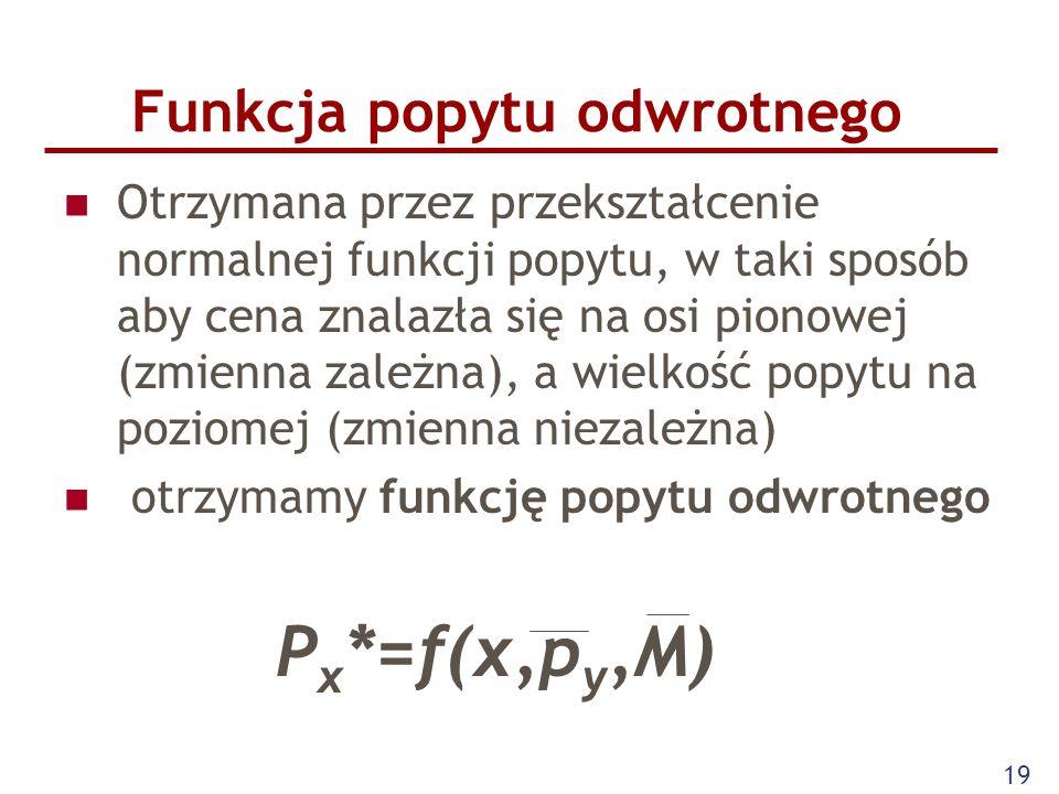 19 Funkcja popytu odwrotnego Otrzymana przez przekształcenie normalnej funkcji popytu, w taki sposób aby cena znalazła się na osi pionowej (zmienna za