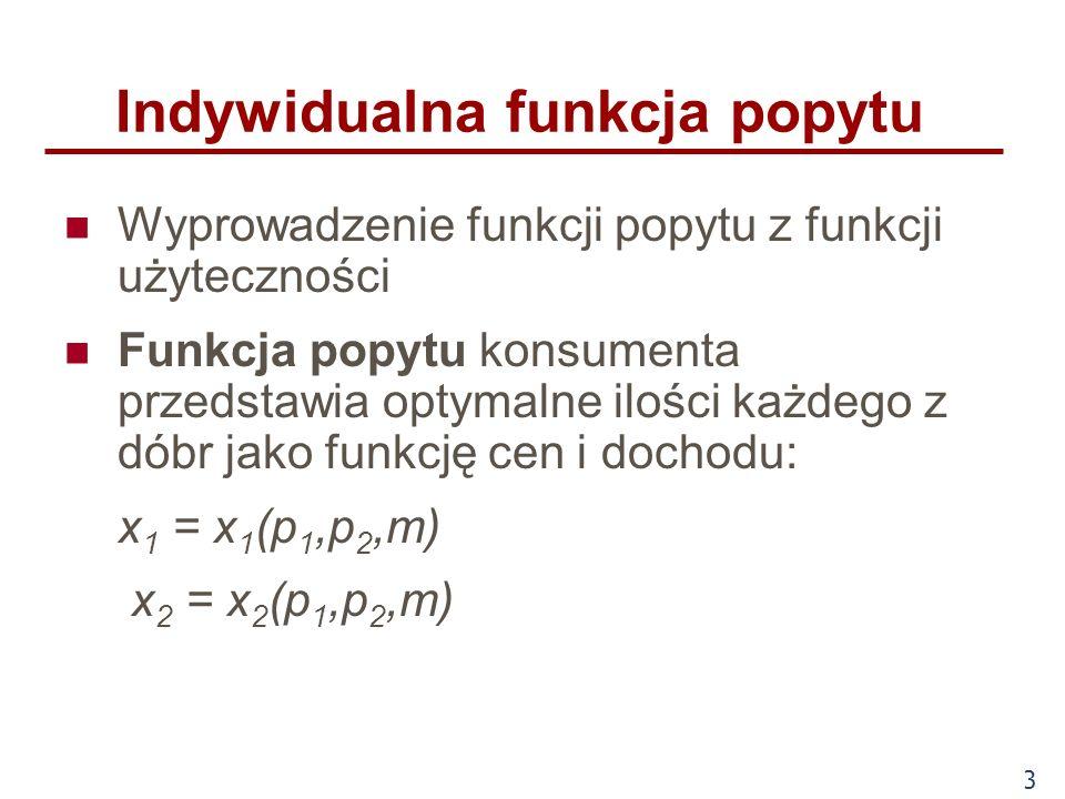 3 Indywidualna funkcja popytu Wyprowadzenie funkcji popytu z funkcji użyteczności Funkcja popytu konsumenta przedstawia optymalne ilości każdego z dób