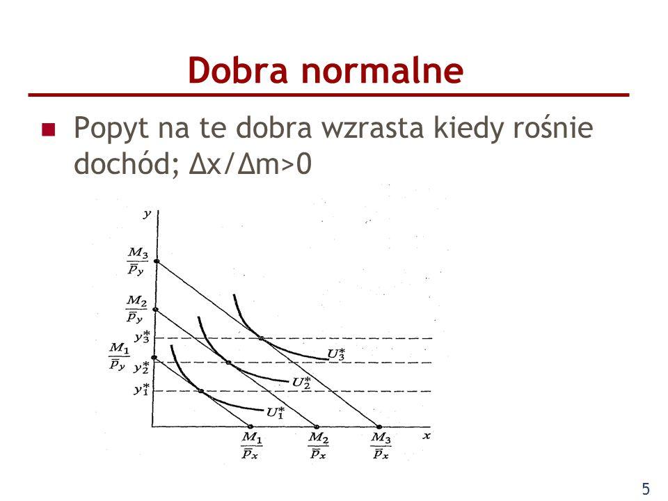 5 Dobra normalne Popyt na te dobra wzrasta kiedy rośnie dochód; Δx/Δm>0