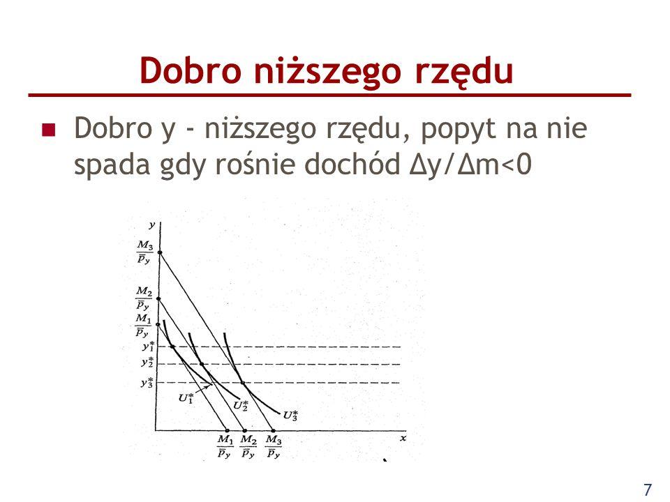 7 Dobro niższego rzędu Dobro y - niższego rzędu, popyt na nie spada gdy rośnie dochód Δy/Δm<0