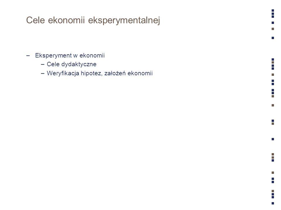 Cele ekonomii eksperymentalnej –Eksperyment w ekonomii –Cele dydaktyczne –Weryfikacja hipotez, założeń ekonomii