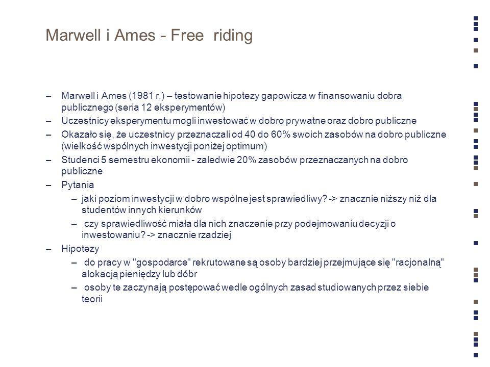 Carter i Irons – 10 lat później –Weryfikacja wyników Marwella i Amesa –Potwierdzili inne zachowanie studentów ekonomii –Postanowili zbadać czy wynika to z autoselekcji czy indoktrynacji (czyli nauczania) –Gra (podział kwoty – 10 USD – pomiędzy siebie) –Proponujący (proponuje podział) –Odpowiadający (akceptuje lub nie podział) –Gdy odpowiadający zaakceptuje podział kwota jest dzielona zgodnie z propozycją –Gdy odrzuci obaj gracze nie dostają nic –Wg ekonomii (teorii gier) przy spełnionym założeniu o racjonalności graczy, proponujący powinien zaoferować minimalną możliwą kwotę >0 a opowiadający przyjąć propozycję –Gracze grają ze sobą tyko raz –Wyniki potwierdziły inne zachowanie studentów ekonomii (zarówno oferowali niższe kwoty jak i akceptowali niższe) –Hipotezy –autoselekcja.