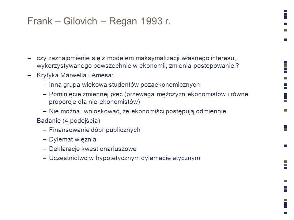 Frank – Gilovich – Regan 1993 r. –czy zaznajomienie się z modelem maksymalizacji własnego interesu, wykorzystywanego powszechnie w ekonomii, zmienia p