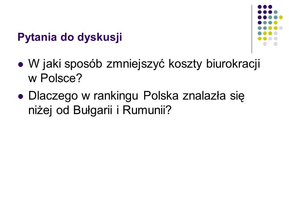 Pytania do dyskusji W jaki sposób zmniejszyć koszty biurokracji w Polsce? Dlaczego w rankingu Polska znalazła się niżej od Bułgarii i Rumunii?