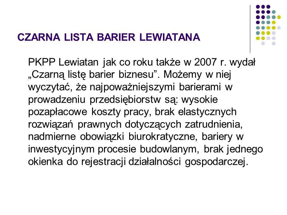 CZARNA LISTA BARIER LEWIATANA PKPP Lewiatan jak co roku także w 2007 r. wydał Czarną listę barier biznesu. Możemy w niej wyczytać, że najpoważniejszym