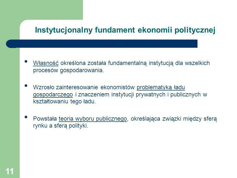 11 Instytucjonalny fundament ekonomii politycznej Własność określona została fundamentalną instytucją dla wszelkich procesów gospodarowania. Wzrosło z