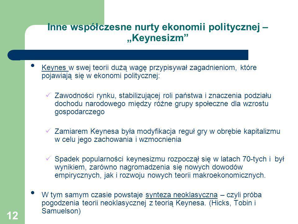 12 Inne współczesne nurty ekonomii politycznej – Keynesizm Keynes w swej teorii dużą wagę przypisywał zagadnieniom, które pojawiają się w ekonomi poli